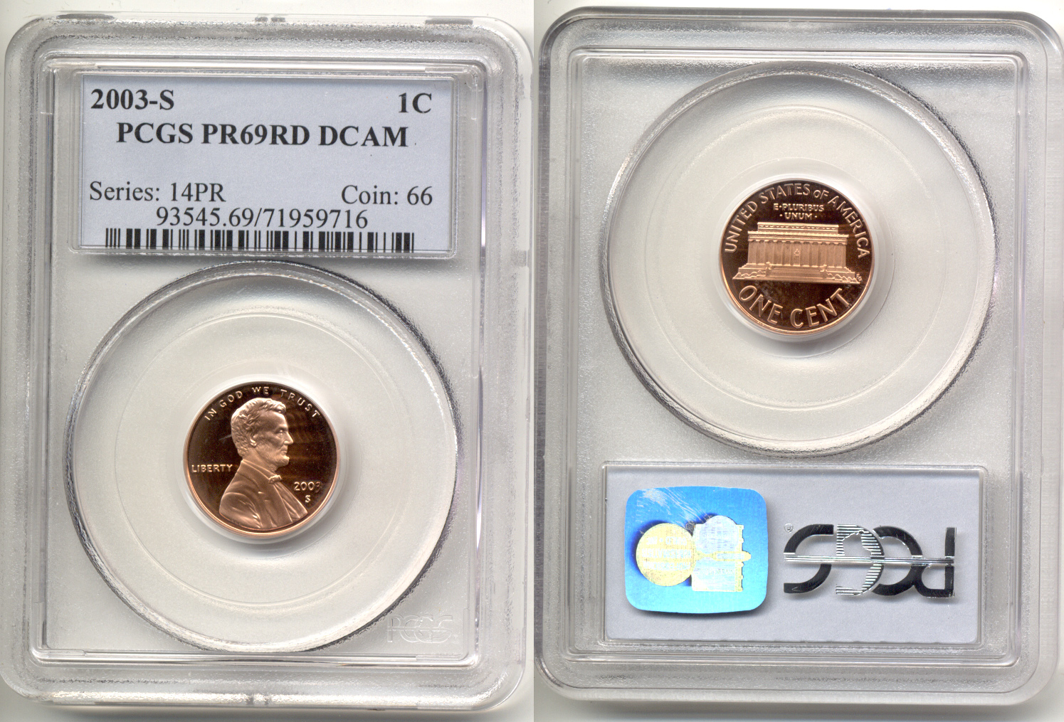2003-S Lincoln Cent PCGS Proof-69 Red Deep Cameo
