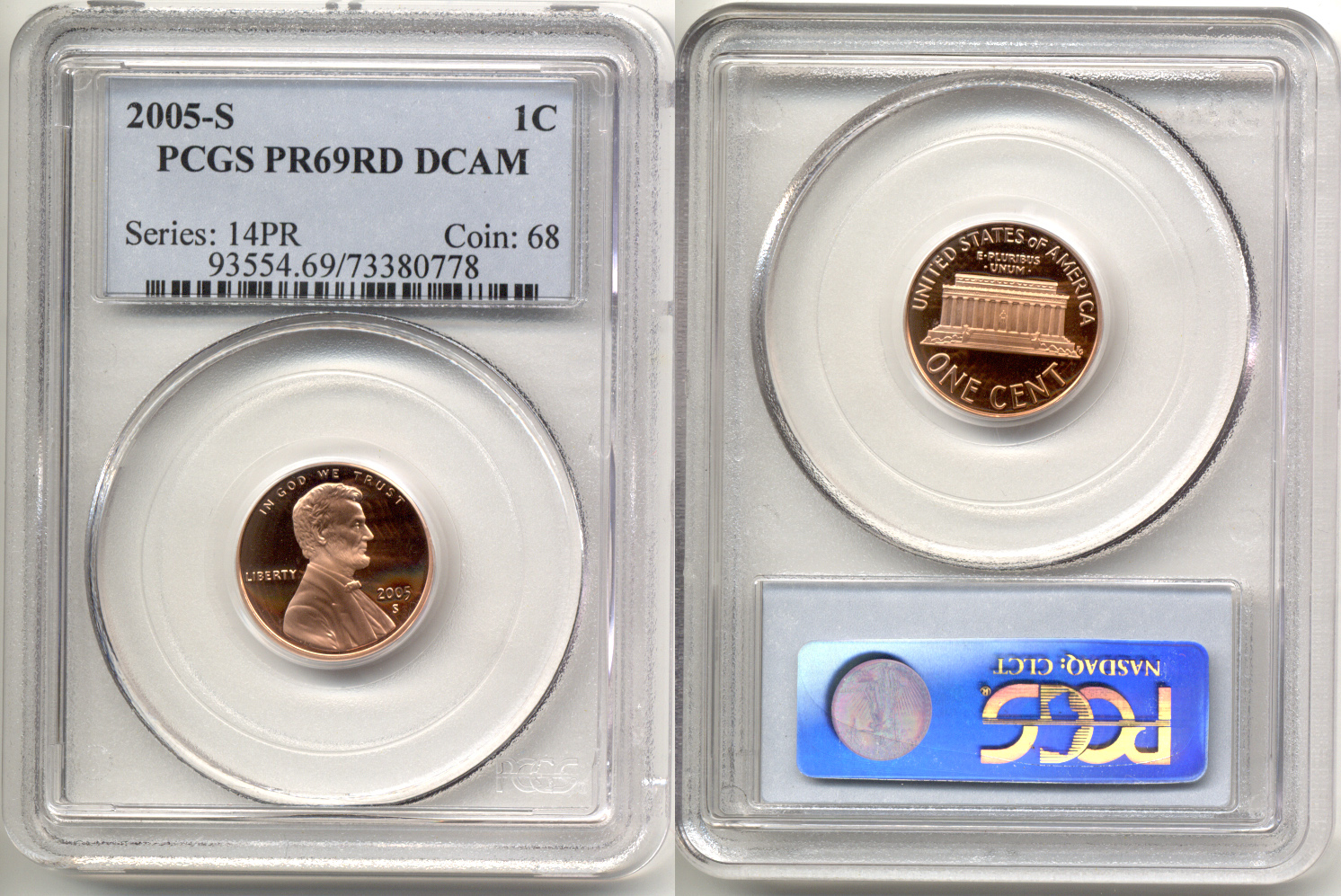 2005-S Lincoln Cent PCGS Proof-69 Red Deep Cameo