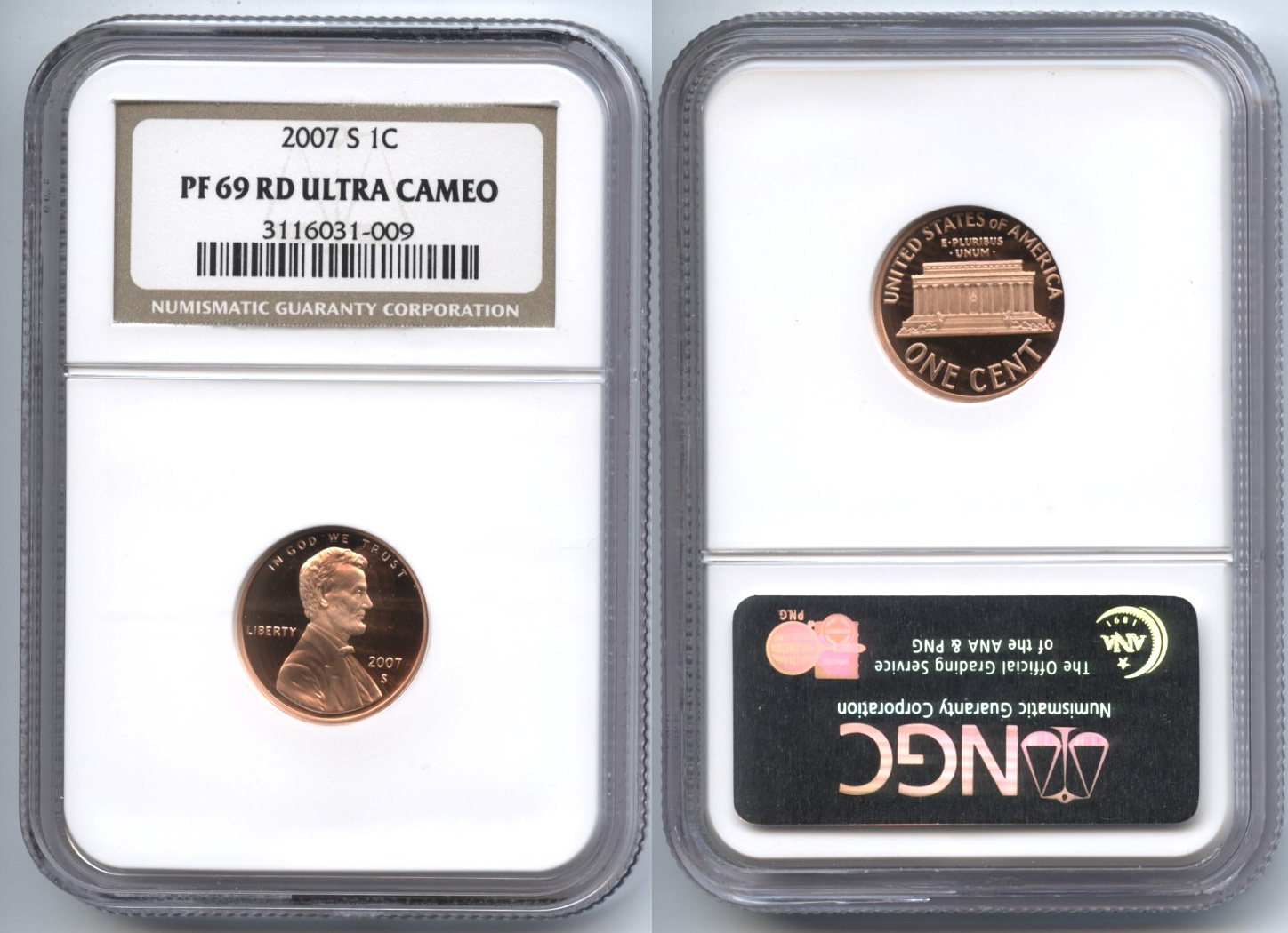2007-S Lincoln Cent NGC Proof-69 Red Ultra Cameo #a