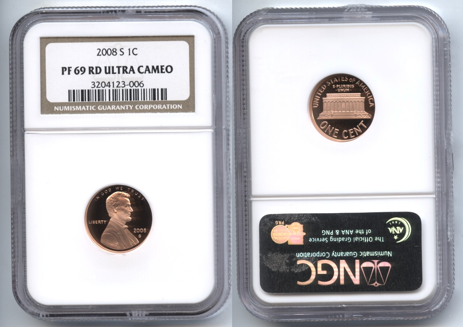 2008-S Lincoln Cent NGC Proof-69 Red Ultra Cameo #a