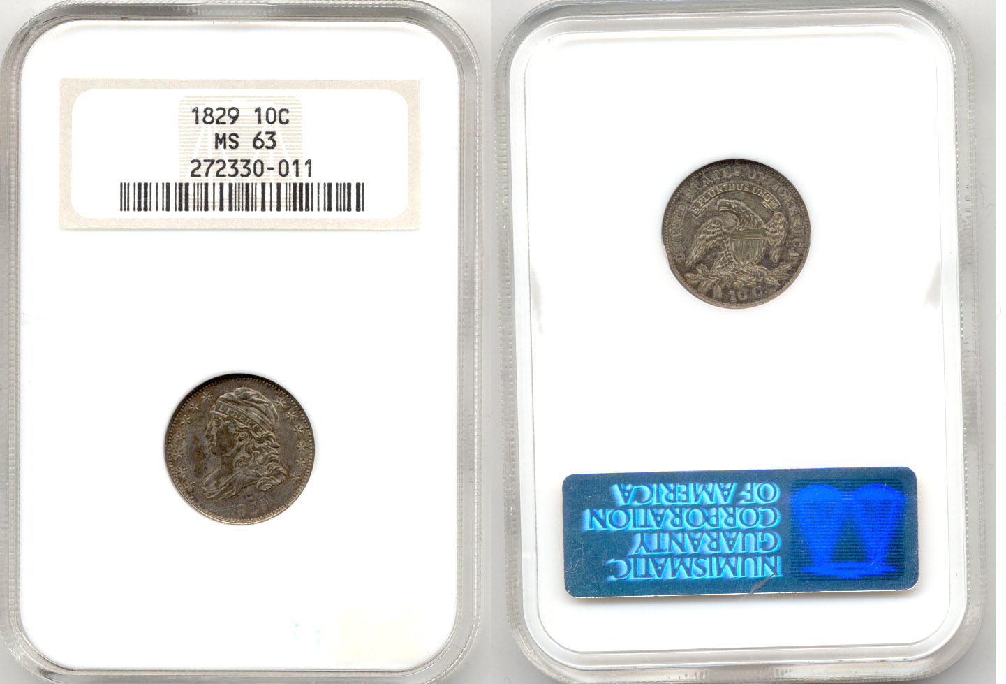 1829 Capped Bust Dime NGC MS-63