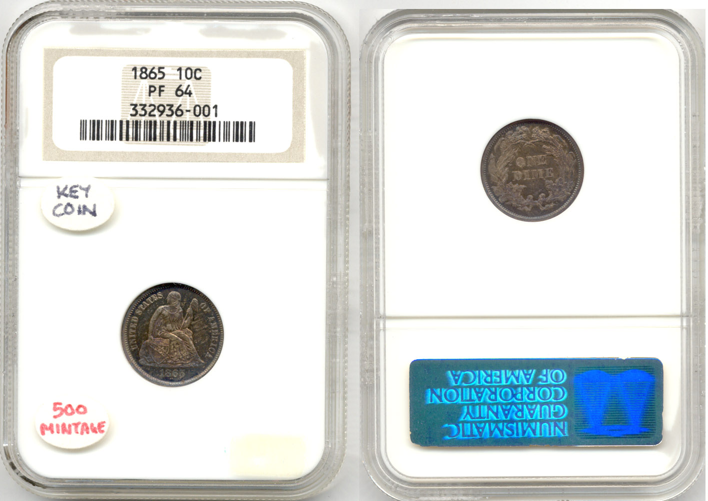 1865 Seated Liberty Dime NGC Proof-64