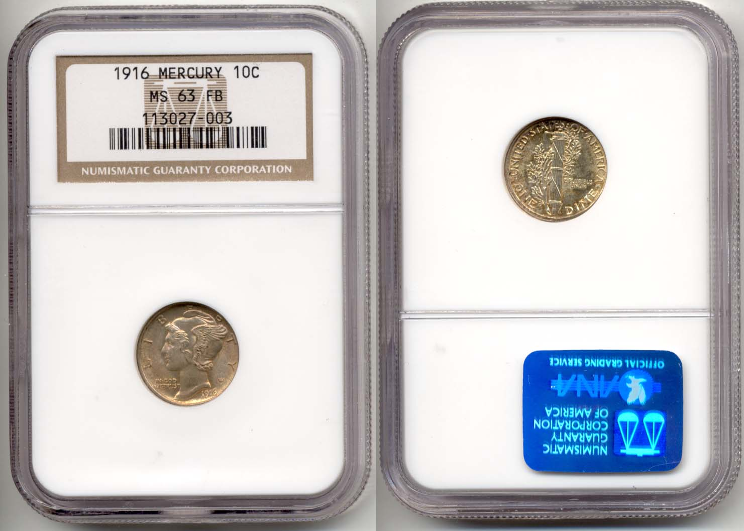 1916 Mercury Dime NGC MS-63 FB