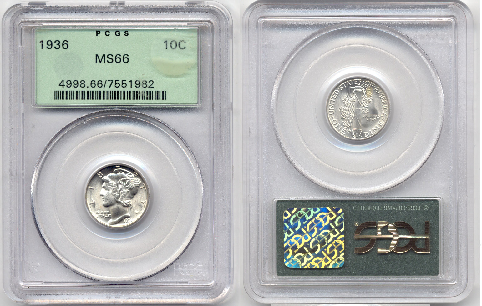 1936 Mercury Dime PCGS MS-66