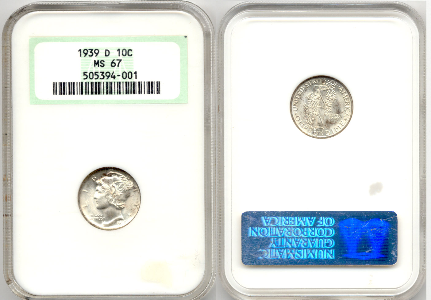 1939-D Mercury Dime NGC MS-67