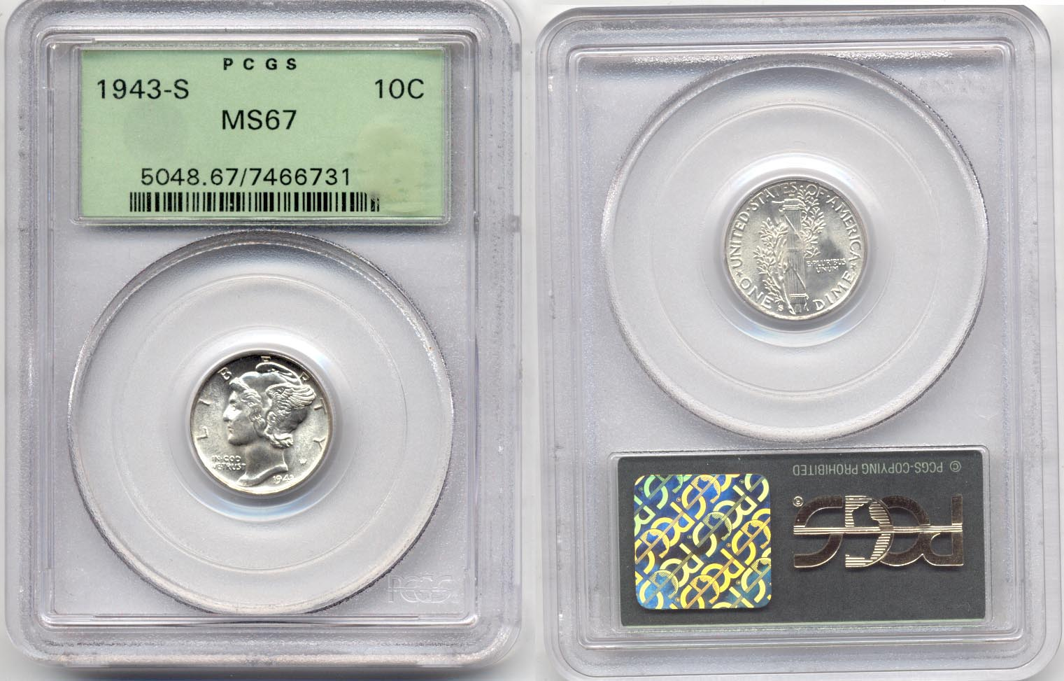 1943-S Mercury Dime PCGS MS-67