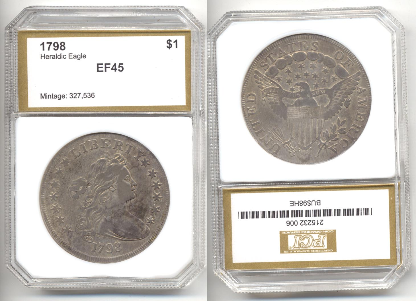 1798 Draped Bust Large Eagle Silver Dollar PCI EF-45