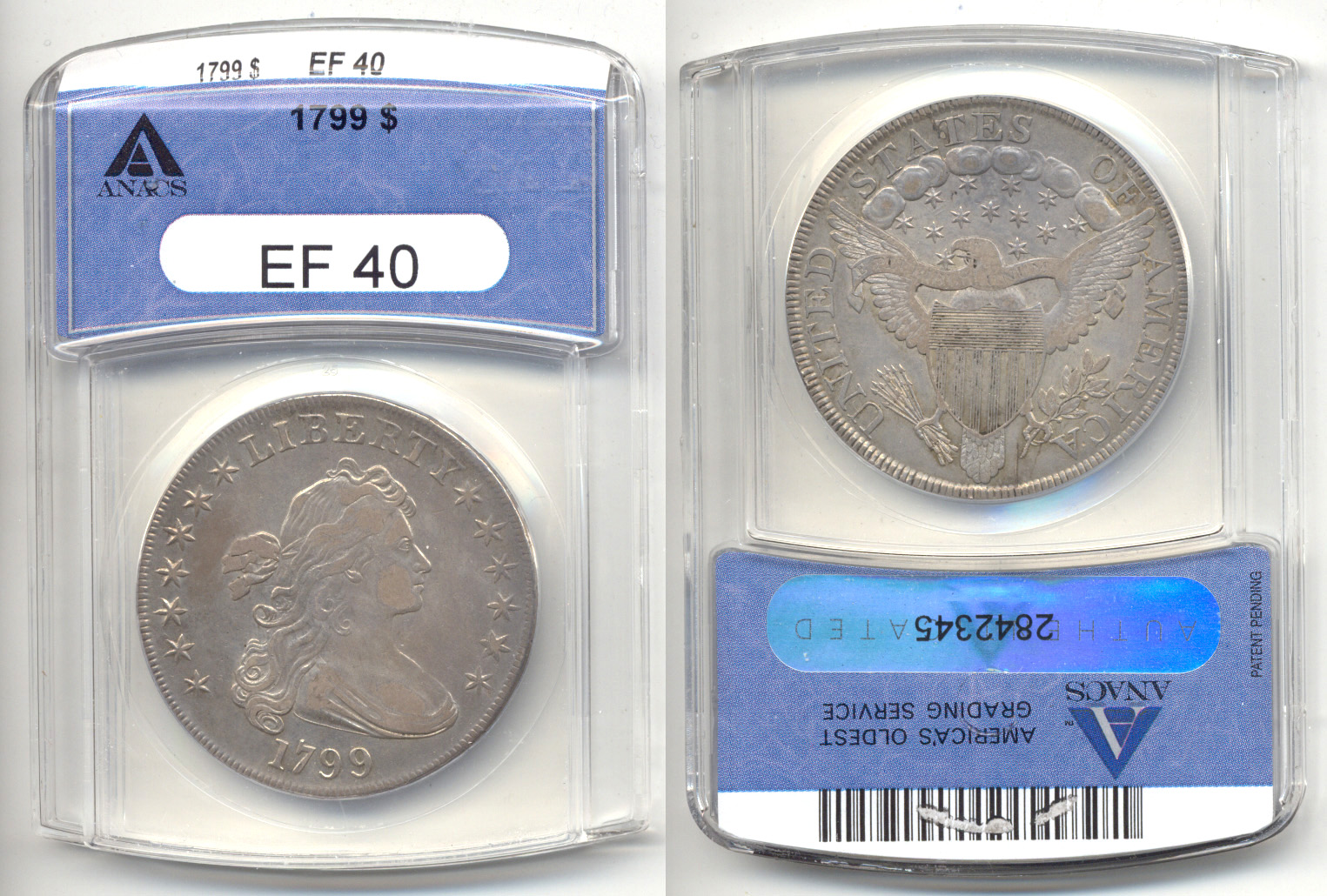 1799 Draped Bust Large Eagle Silver Dollar ANACS EF-40