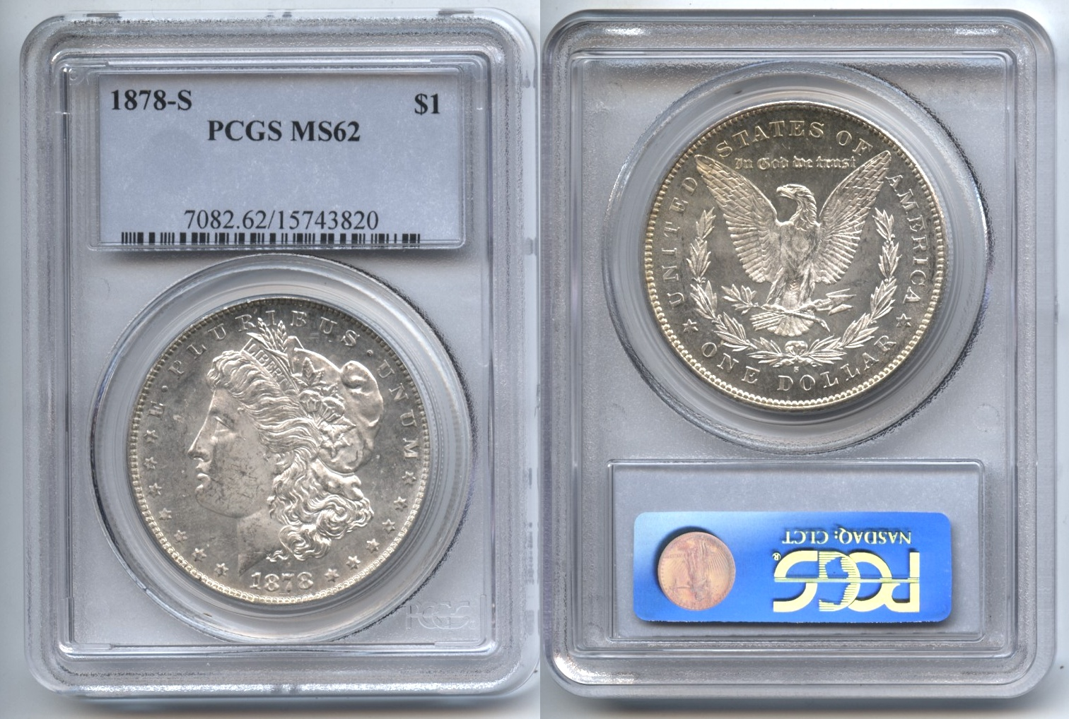 1878-S Morgan Silver Dollar PCGS MS-62 VAM-48, Engraved Wing Feather, S Tilted Right