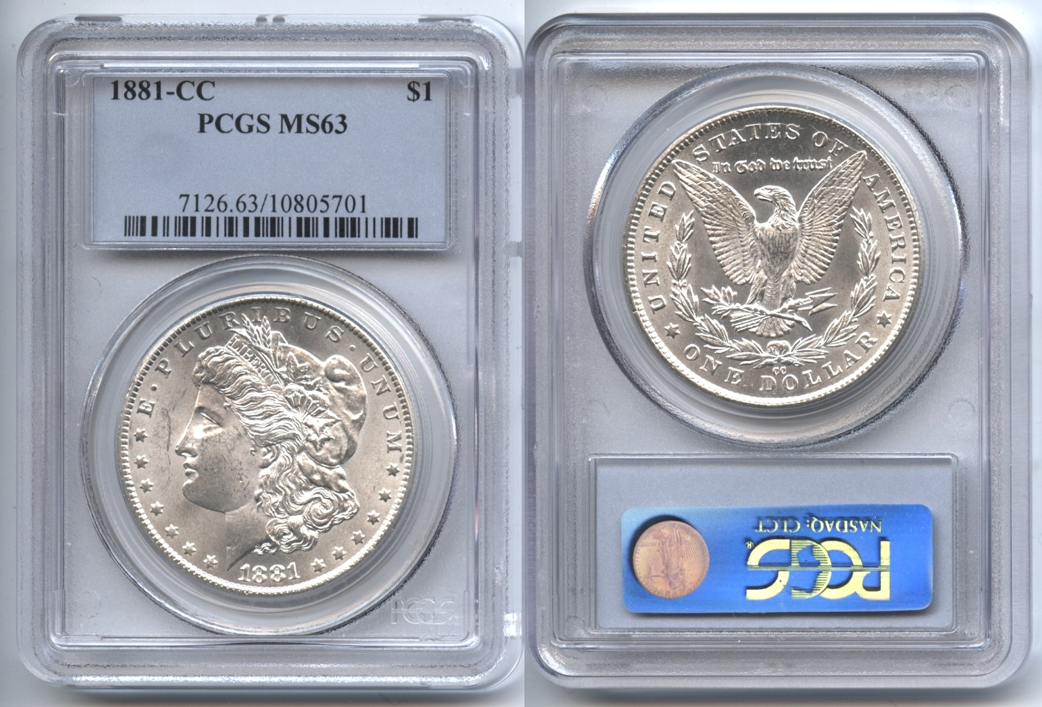 1881-CC Morgan Silver Dollar PCGS MS-63