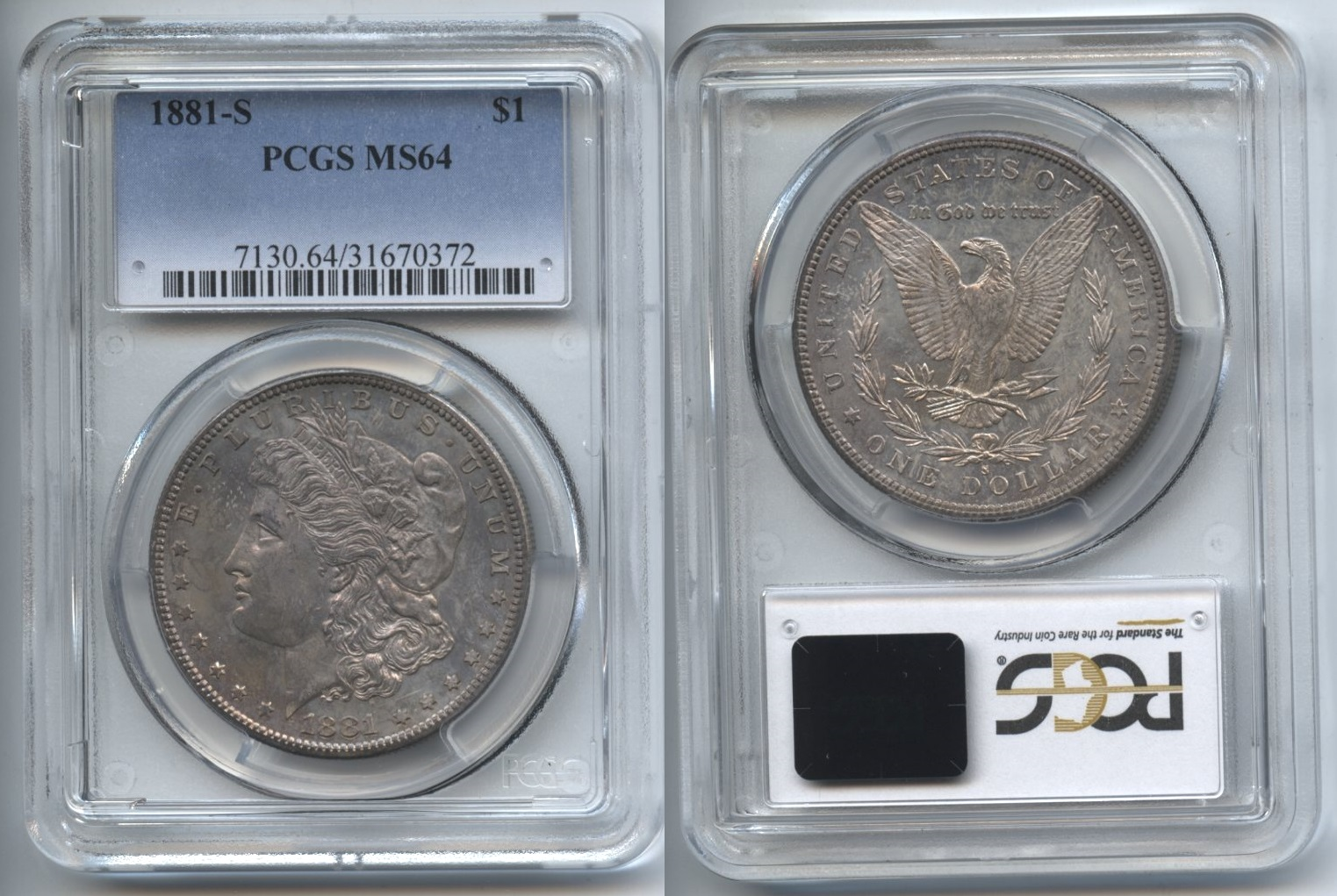 1881-S Morgan Silver Dollar PCGS MS-64 #e