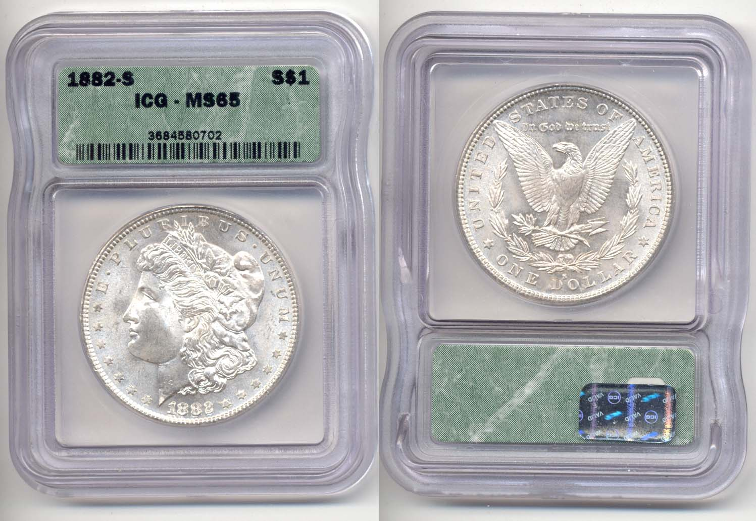 1882-S Morgan Silver Dollar ICG MS-65