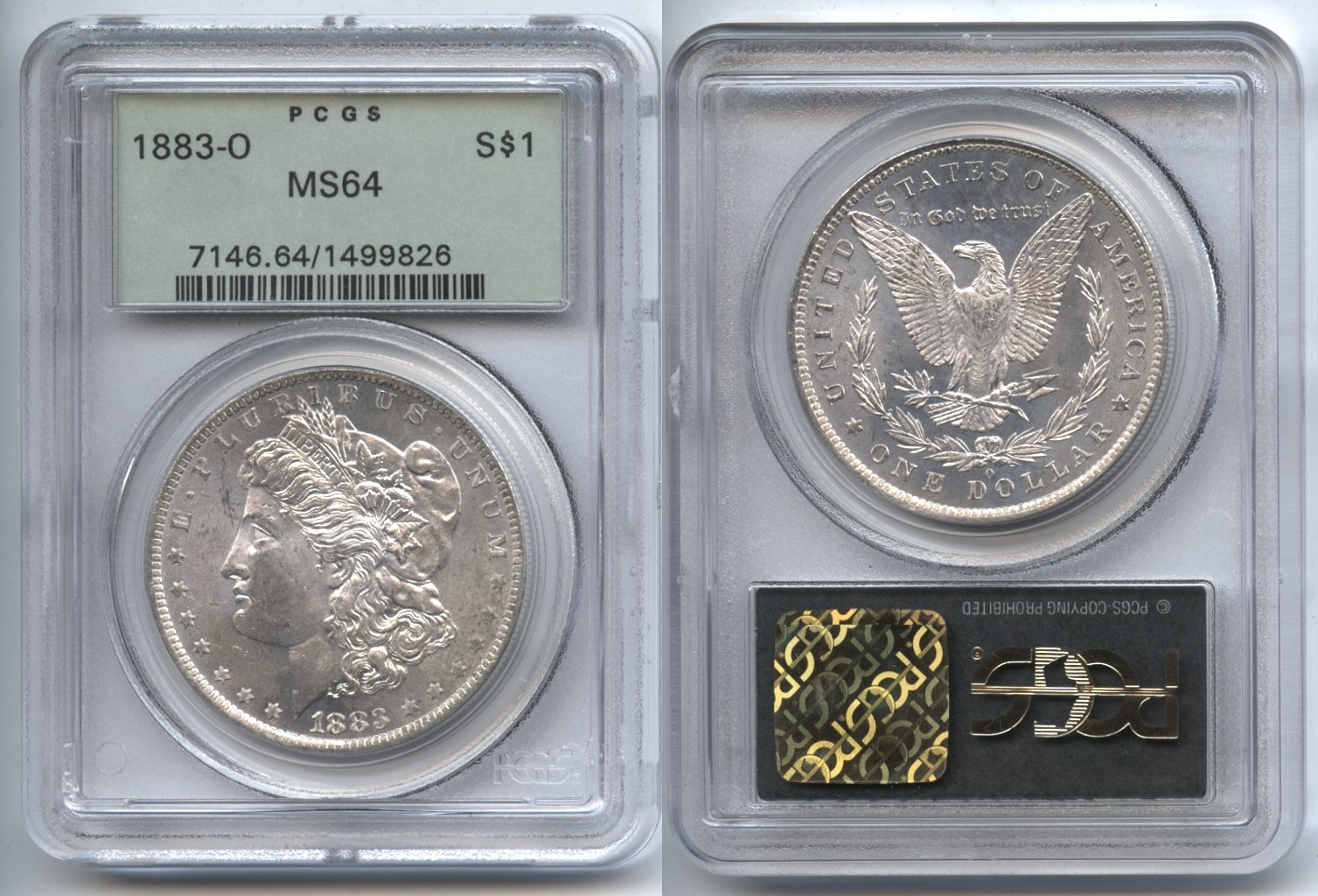 1883-O Morgan Silver Dollar PCGS MS-64 VAM-11 High 8, O Tilted Slightly Right