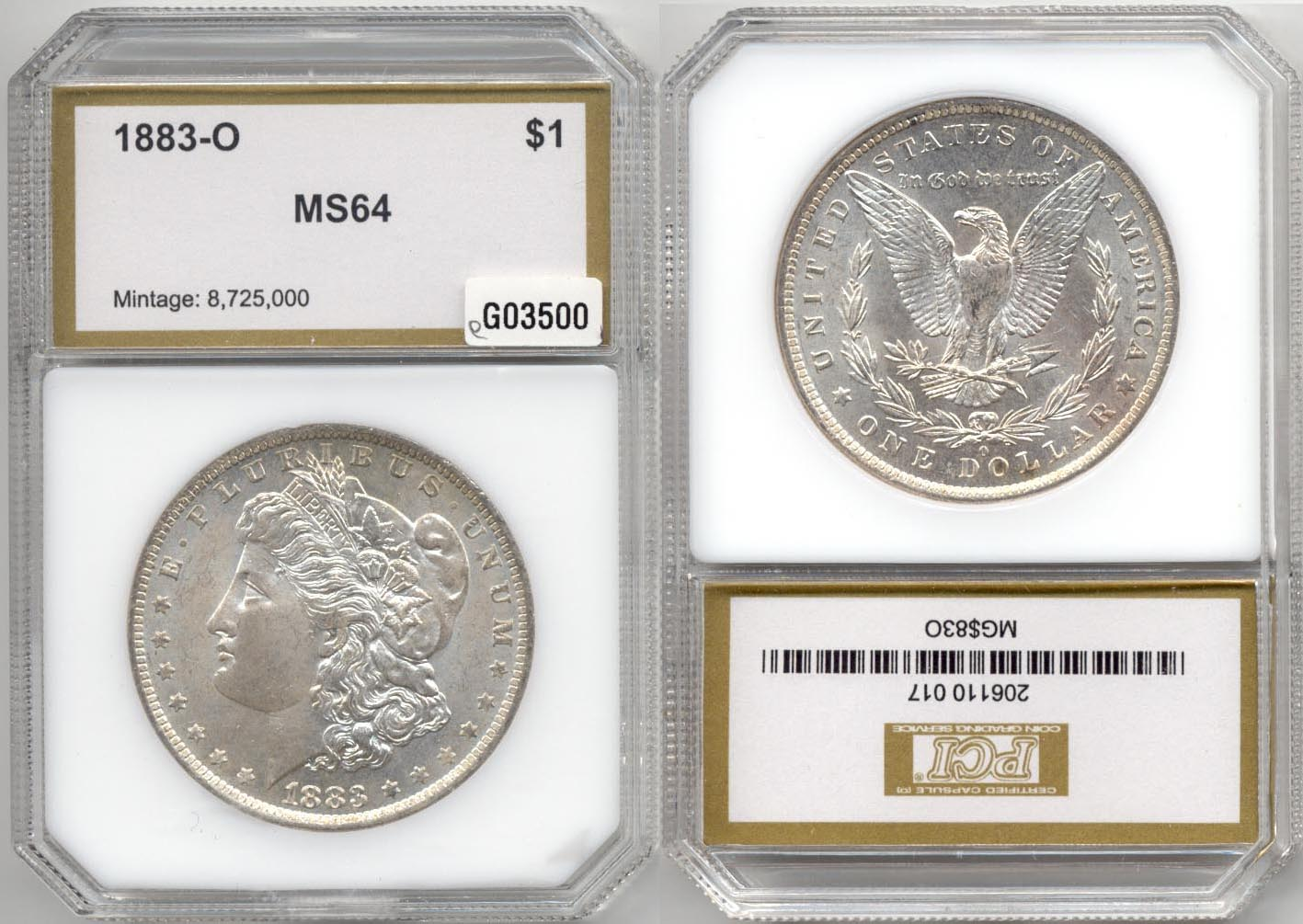 1883-O Morgan Silver Dollar PCI MS-64 e