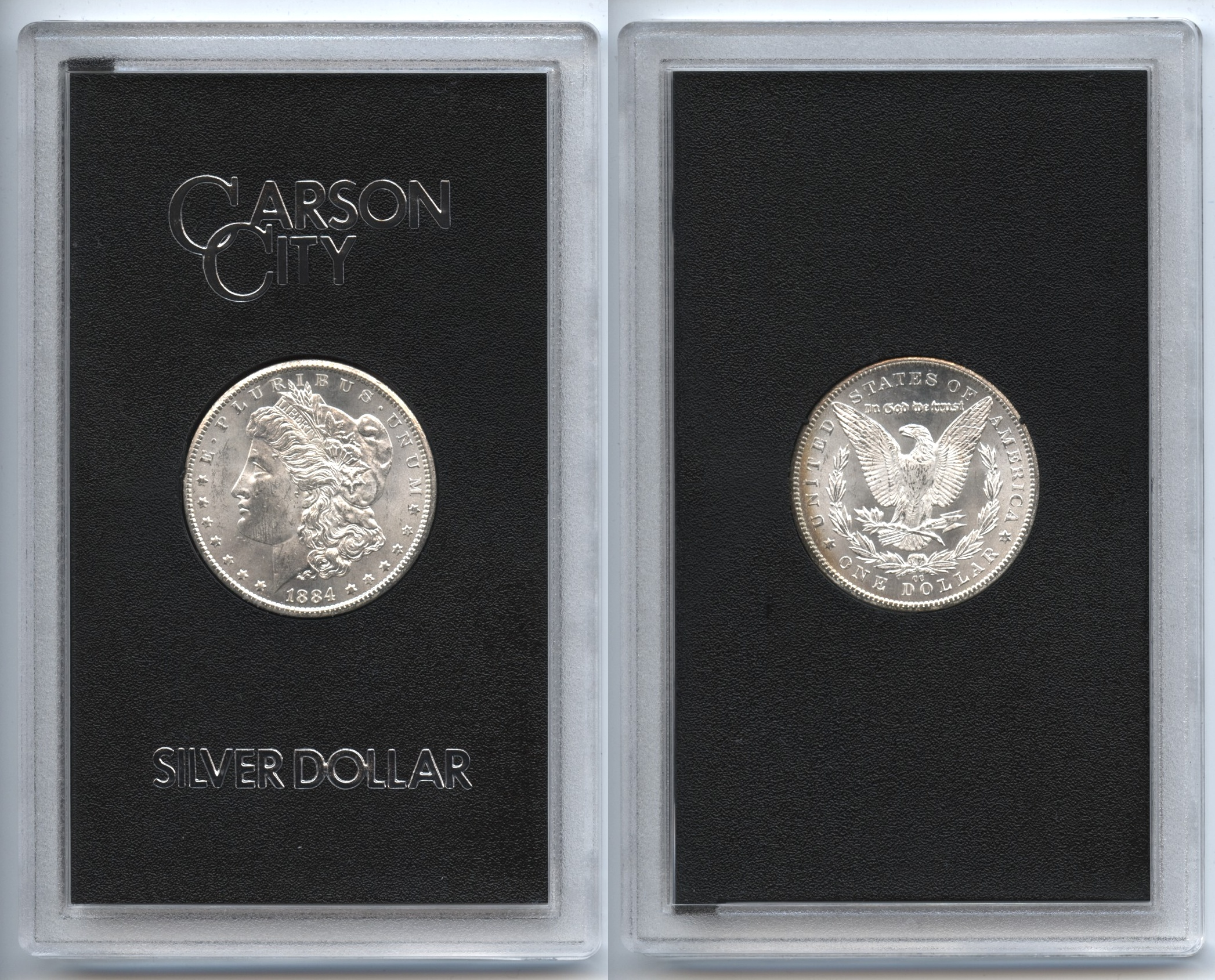 1884-CC Morgan Silver Dollar GSA Holder MS-60