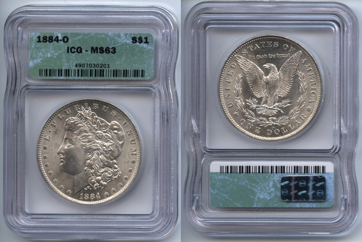 1884-O Morgan Silver Dollar ICG MS-63