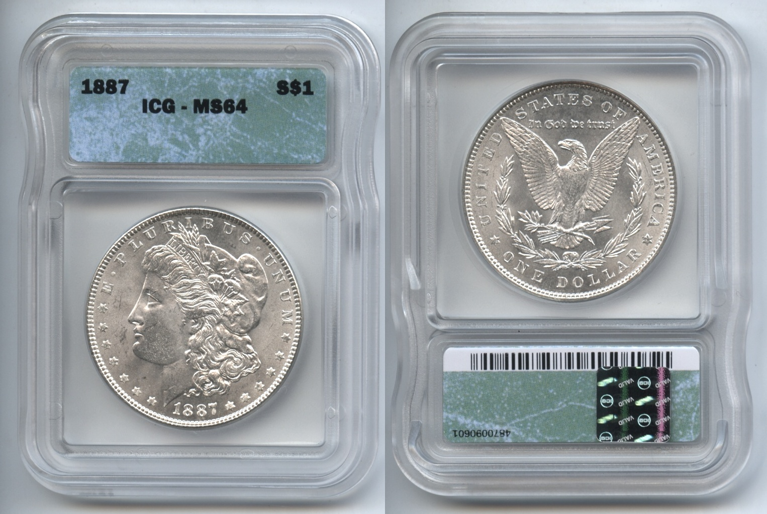 1887 Morgan Silver Dollar ICG MS-64