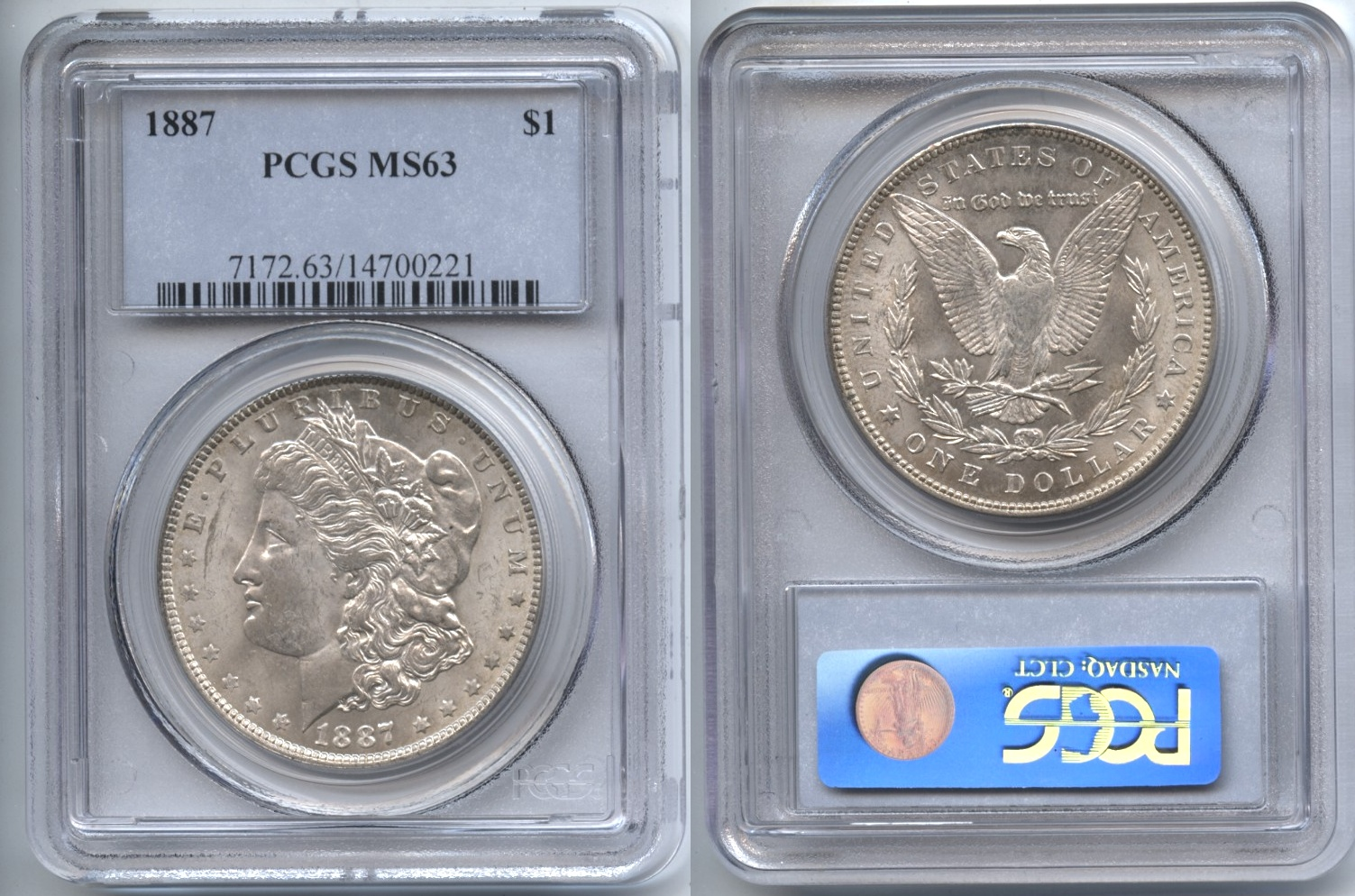 1887 Morgan Silver Dollar PCGS MS-63 VAM-4, Near Date, Doubled 18-7