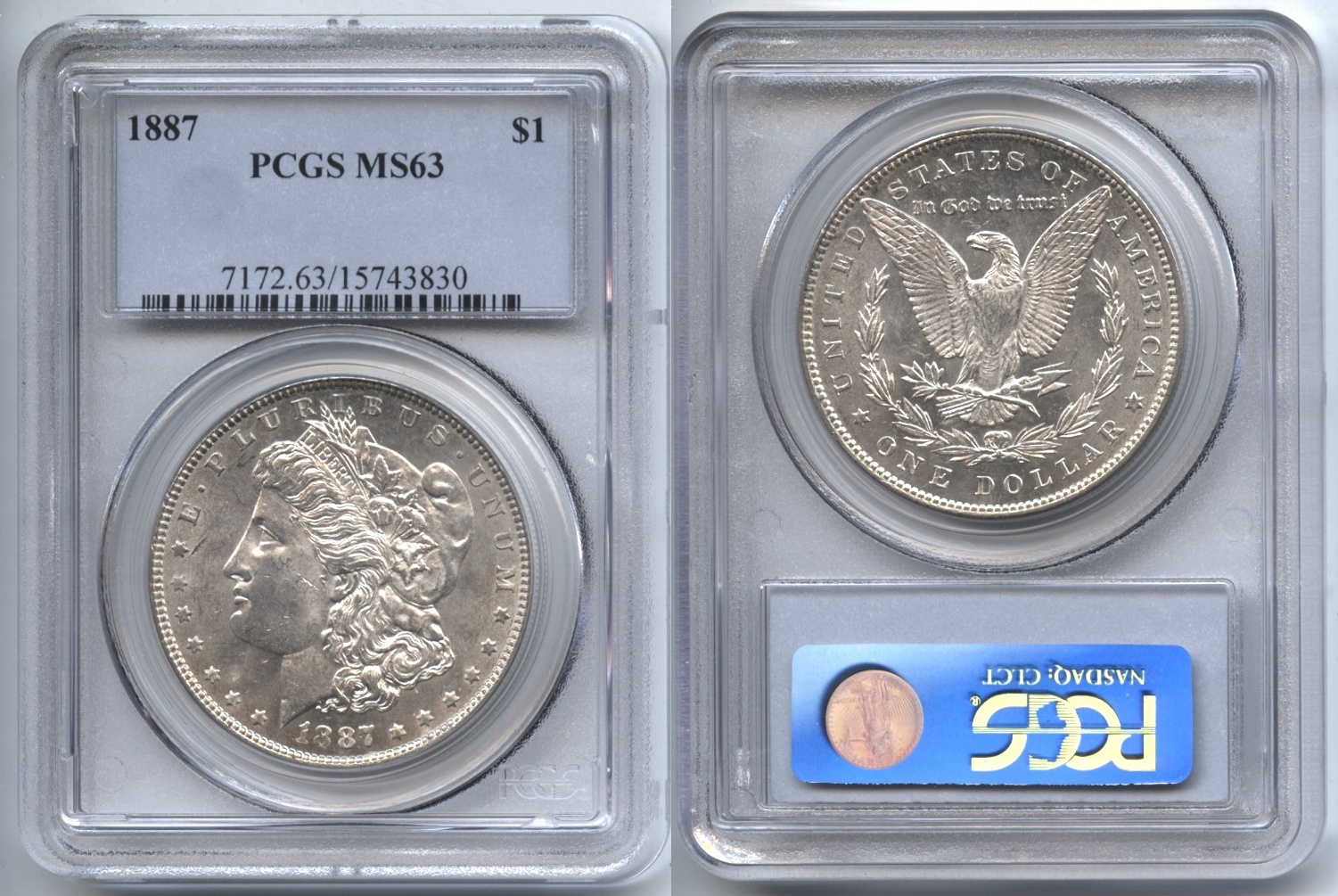 1887 Morgan Silver Dollar PCGS MS-63 #a VAM-13, Doubled Stars, 7 in Denticles, Doubled Die Reverse