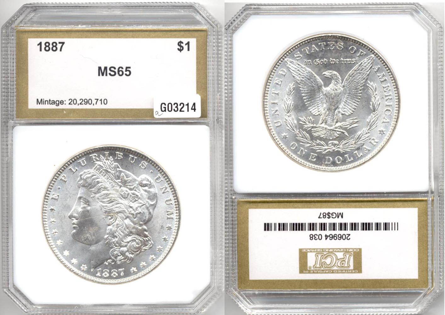 1887 Morgan Silver Dollar PCI MS-65 a
