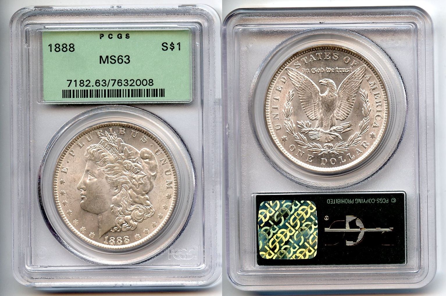 1888 Morgan Silver Dollar PCGS MS-63 #b