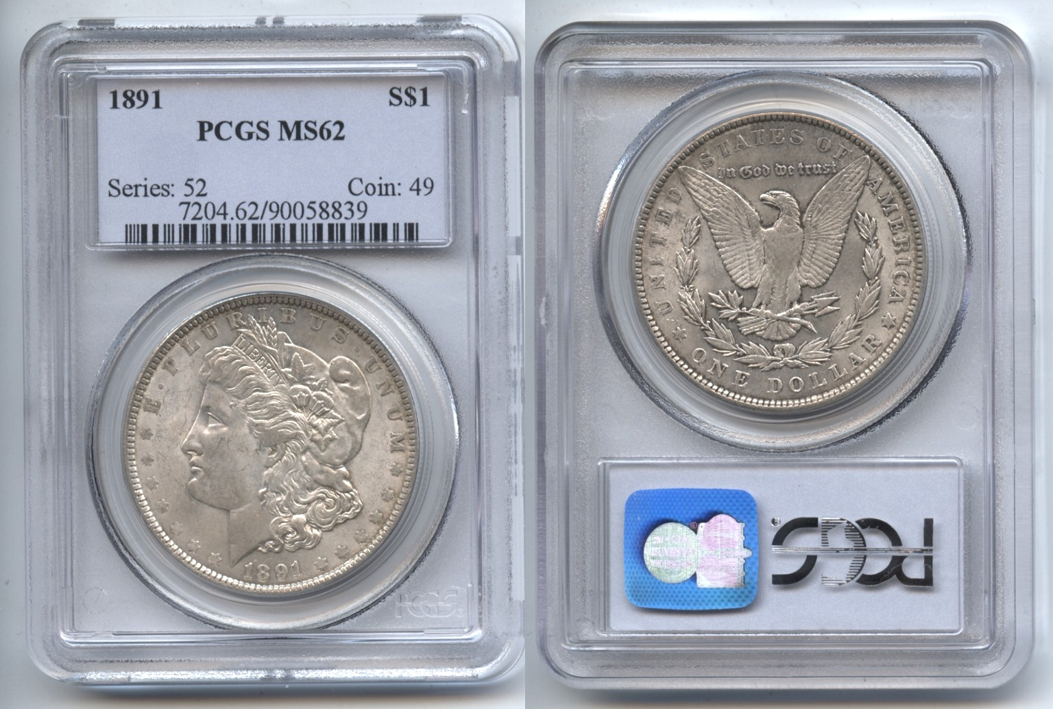 1891 Morgan Silver Dollar PCGS MS-62