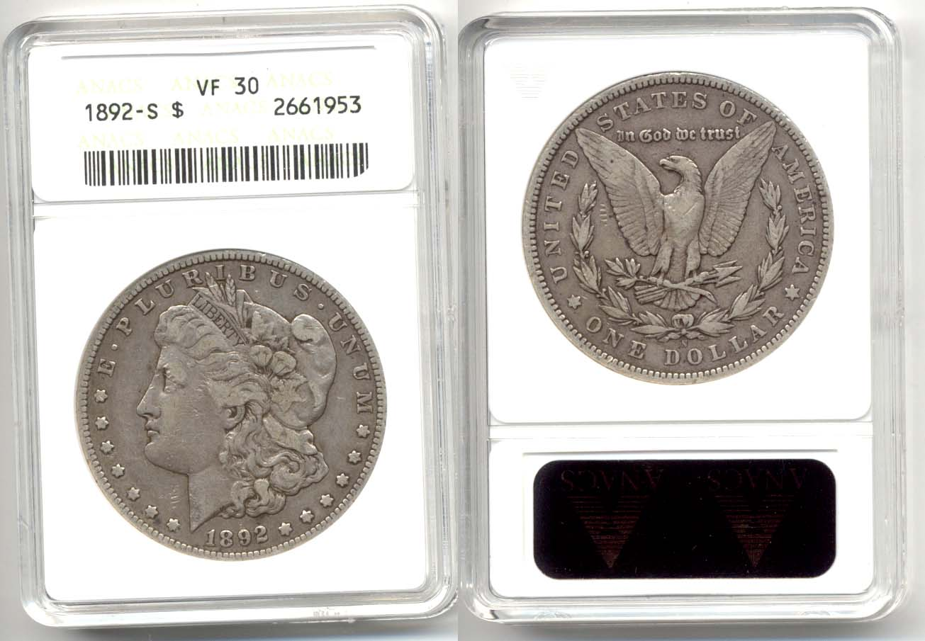 1892-S Morgan Silver Dollar ANACS VF-30