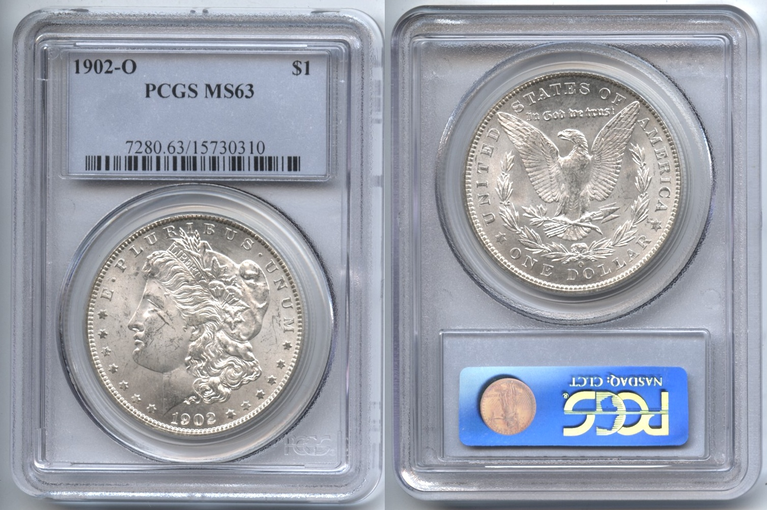 1902-O Morgan Silver Dollar PCGS MS-63 VAM-11, Doubled Reverse