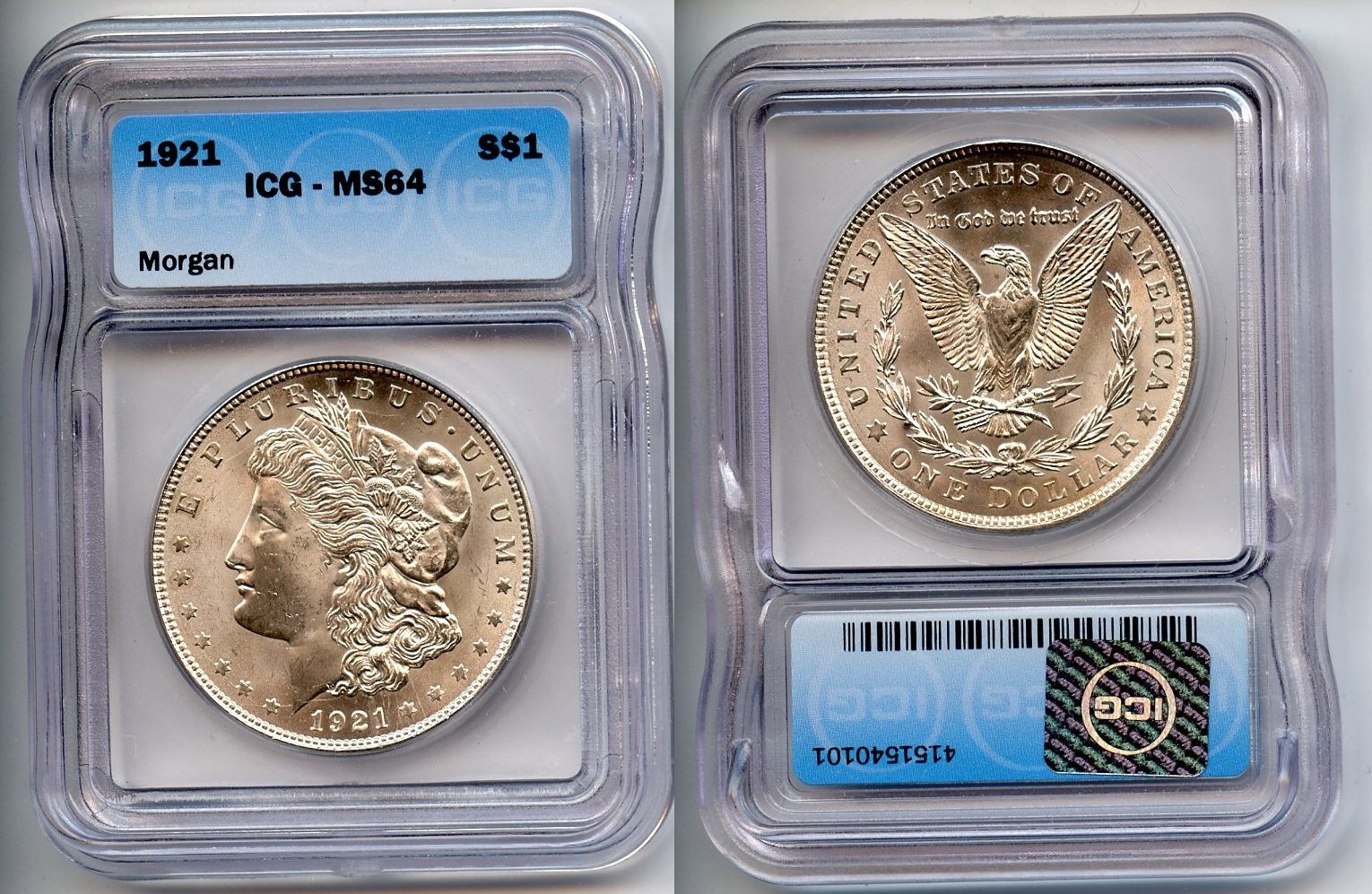 1921 Morgan Silver Dollar ICG MS-64 #a