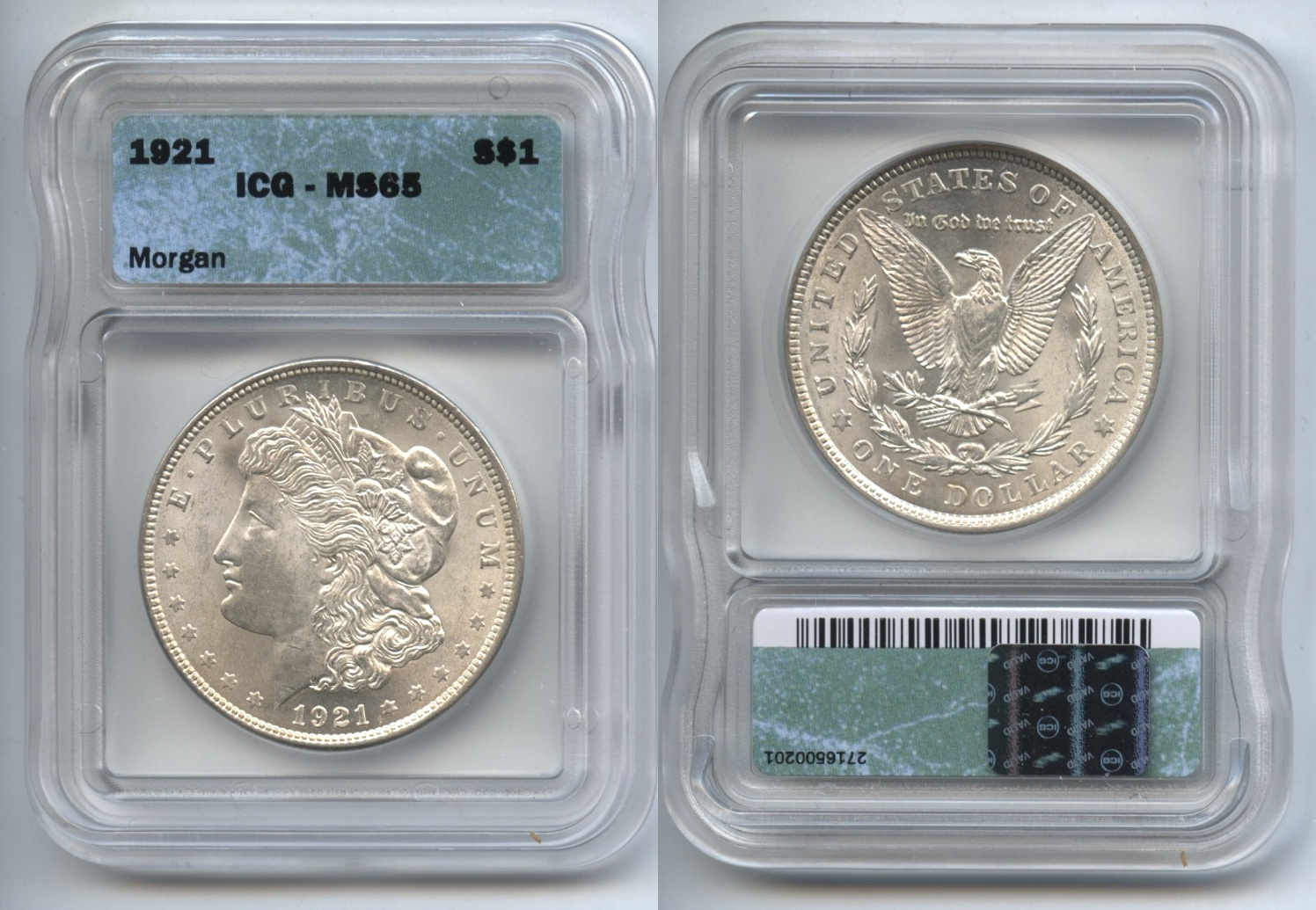 1921 Morgan Silver Dollar ICG MS-65