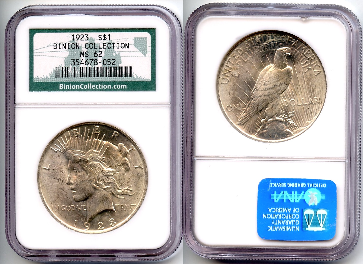 1923 Peace Silver Dollar NGC MS-62 Binion Collection