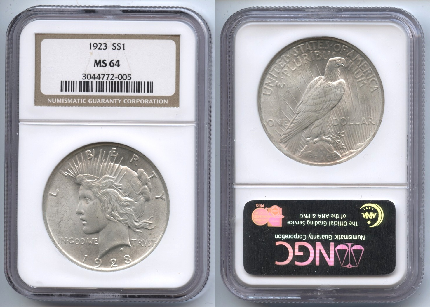 1923 Peace Silver Dollar NGC MS-64