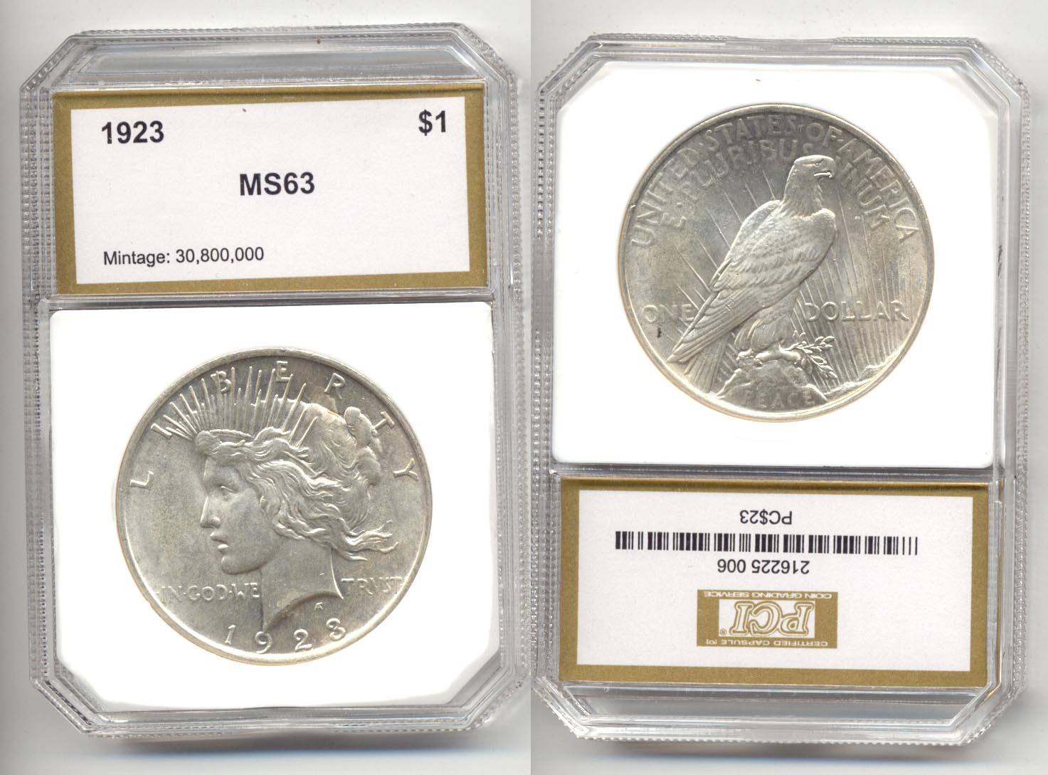 1923 Peace Silver Dollar PCI MS-63