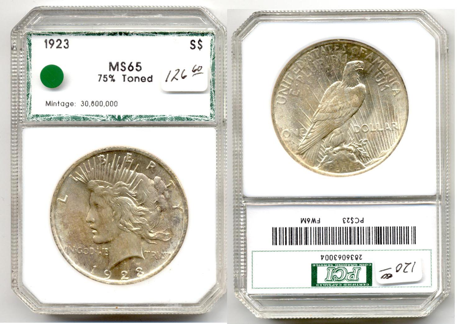 1923 Peace Silver Dollar PCI MS-65