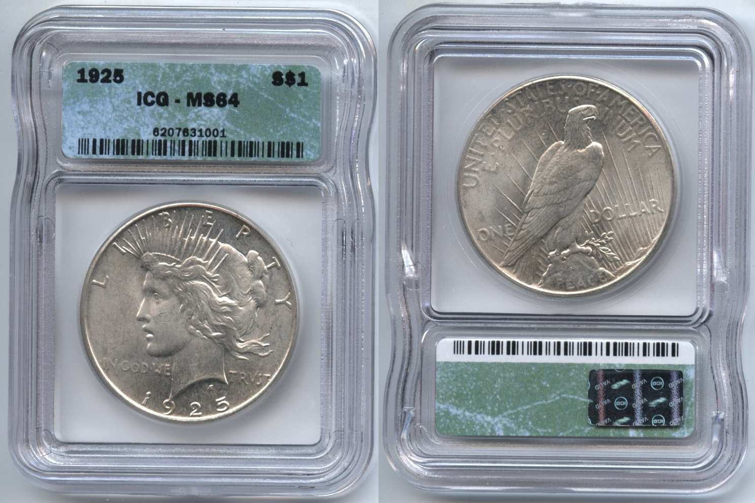 1925 Peace Silver Dollar ICG MS-64