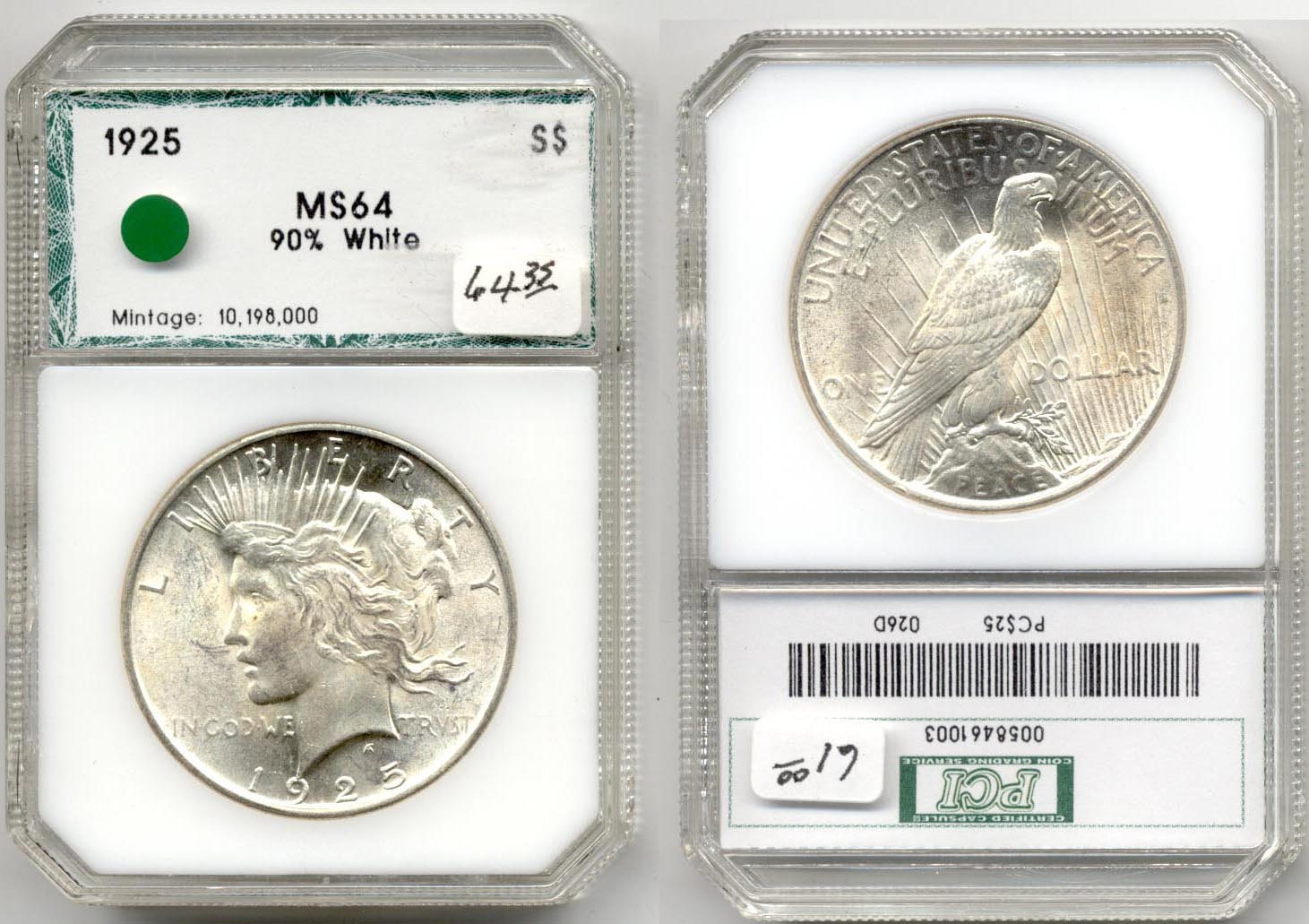 1925 Peace Silver Dollar PCI MS-64