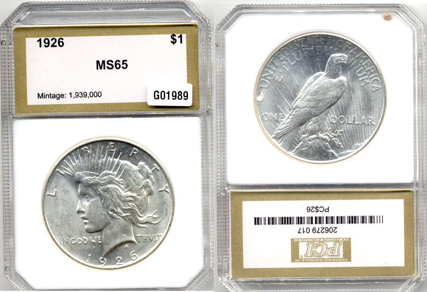 1926 Peace Silver Dollar PCI MS-65