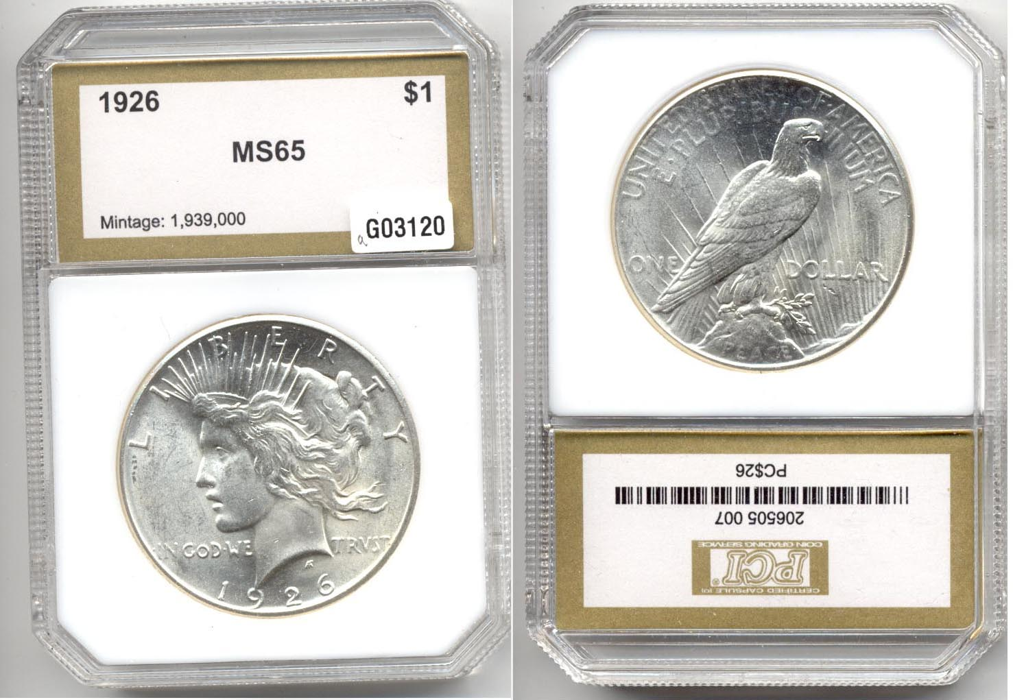 1926 Peace Silver Dollar PCI MS-65 a
