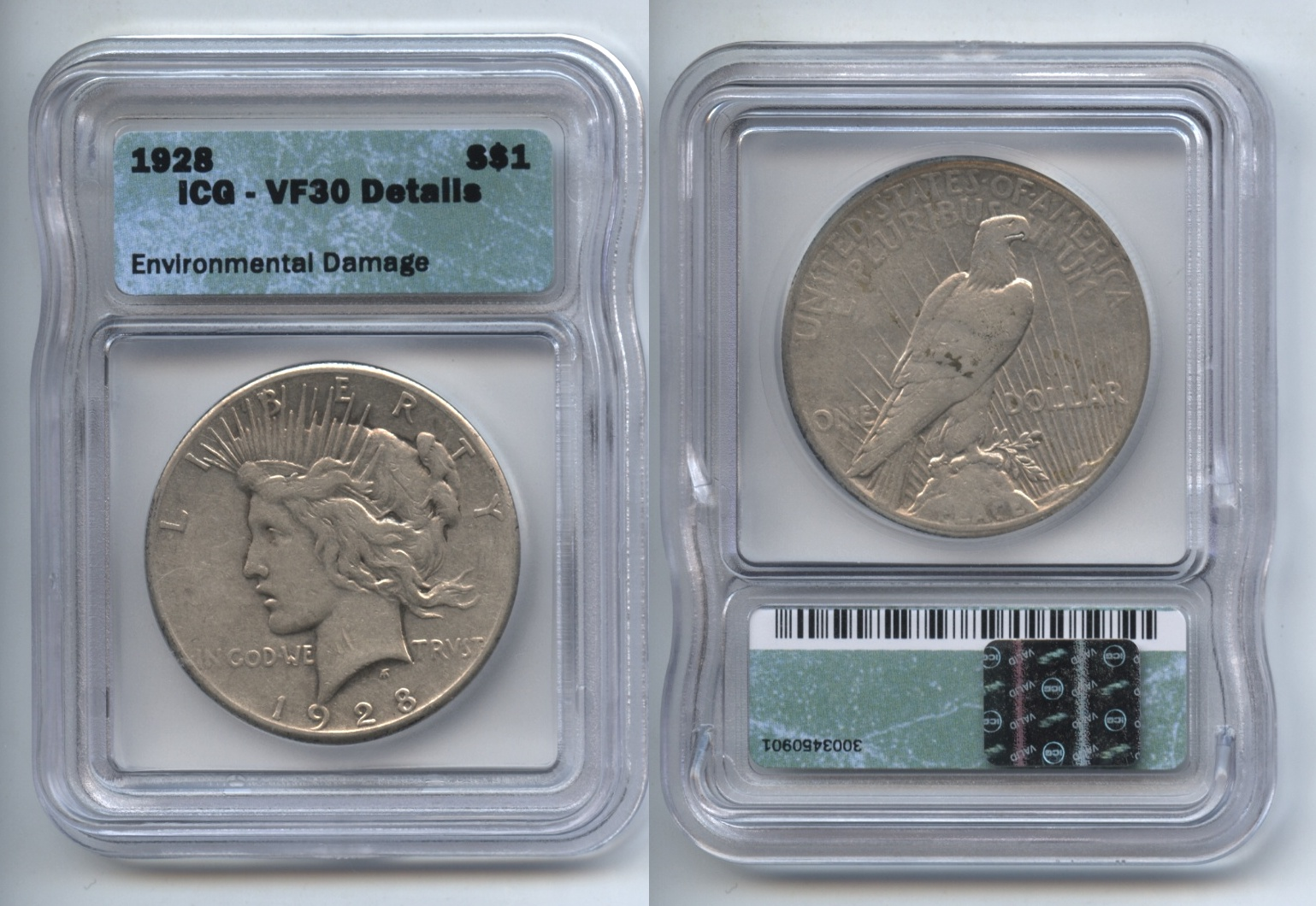 1928 Peace Silver Dollar ICG VF-30 Details