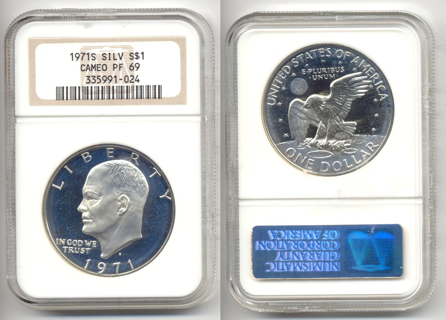 1971-S Eisenhower Dollar NGC Cameo Proof-69