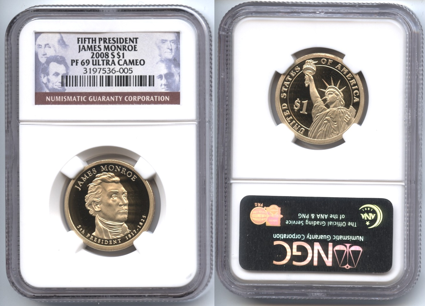 2008-S James Monroe Presidential Dollar NGC Proof-69 Ultra Cameo #b
