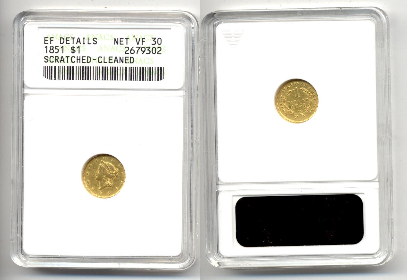 1851 $1.00 Gold Dollar ANACS VF-30