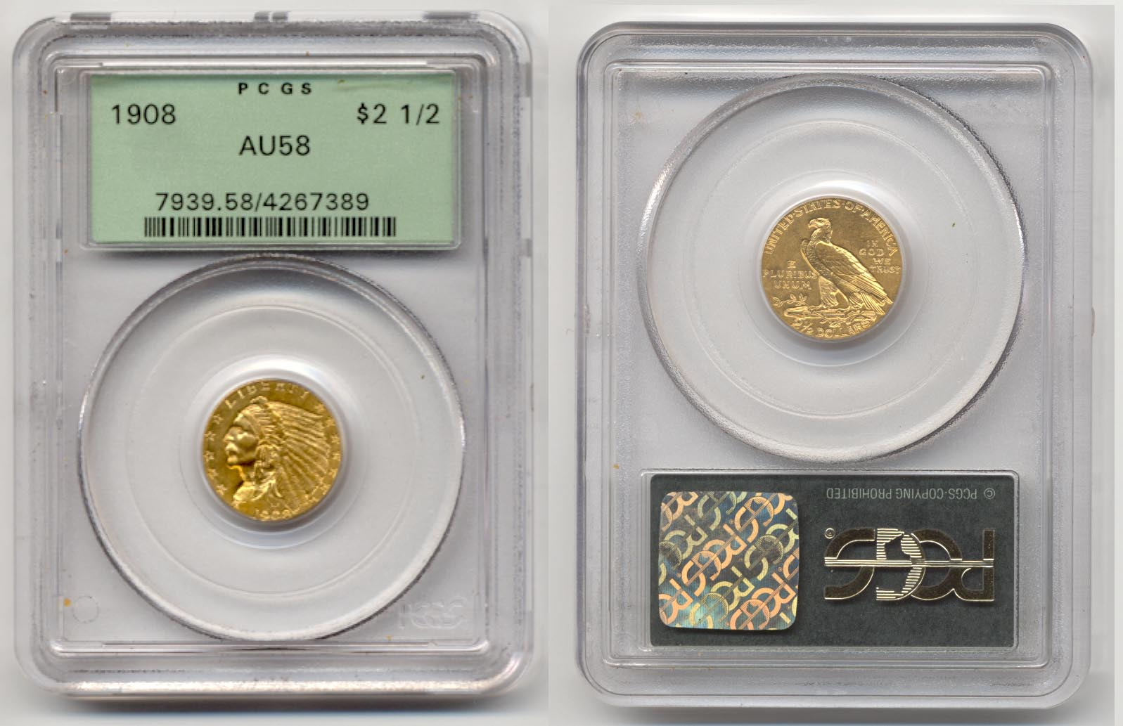 1908 Gold Quarter Eagle PCGS AU-58