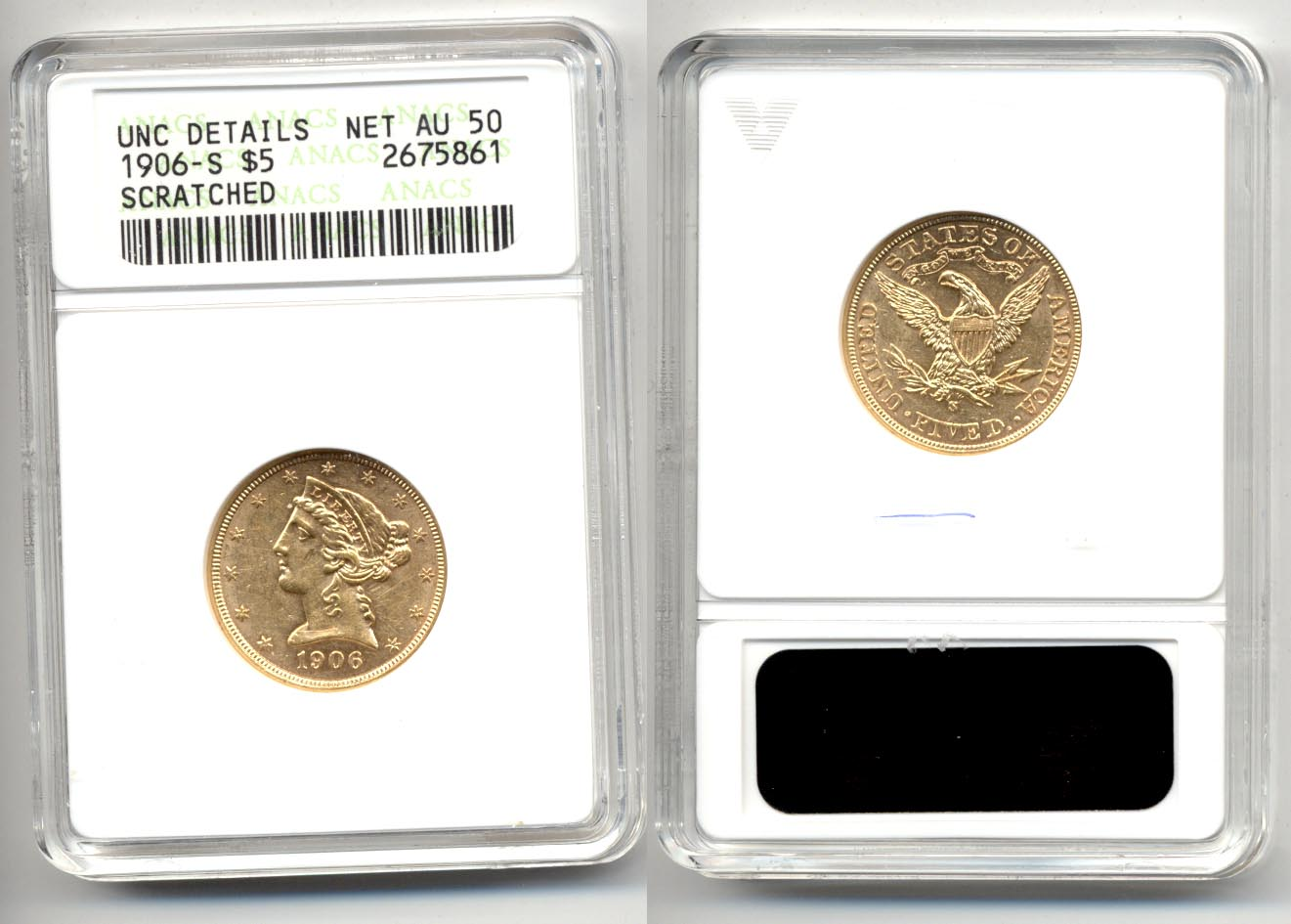 1906-S $5.00 Gold Half Eagle ANACS net AU-50