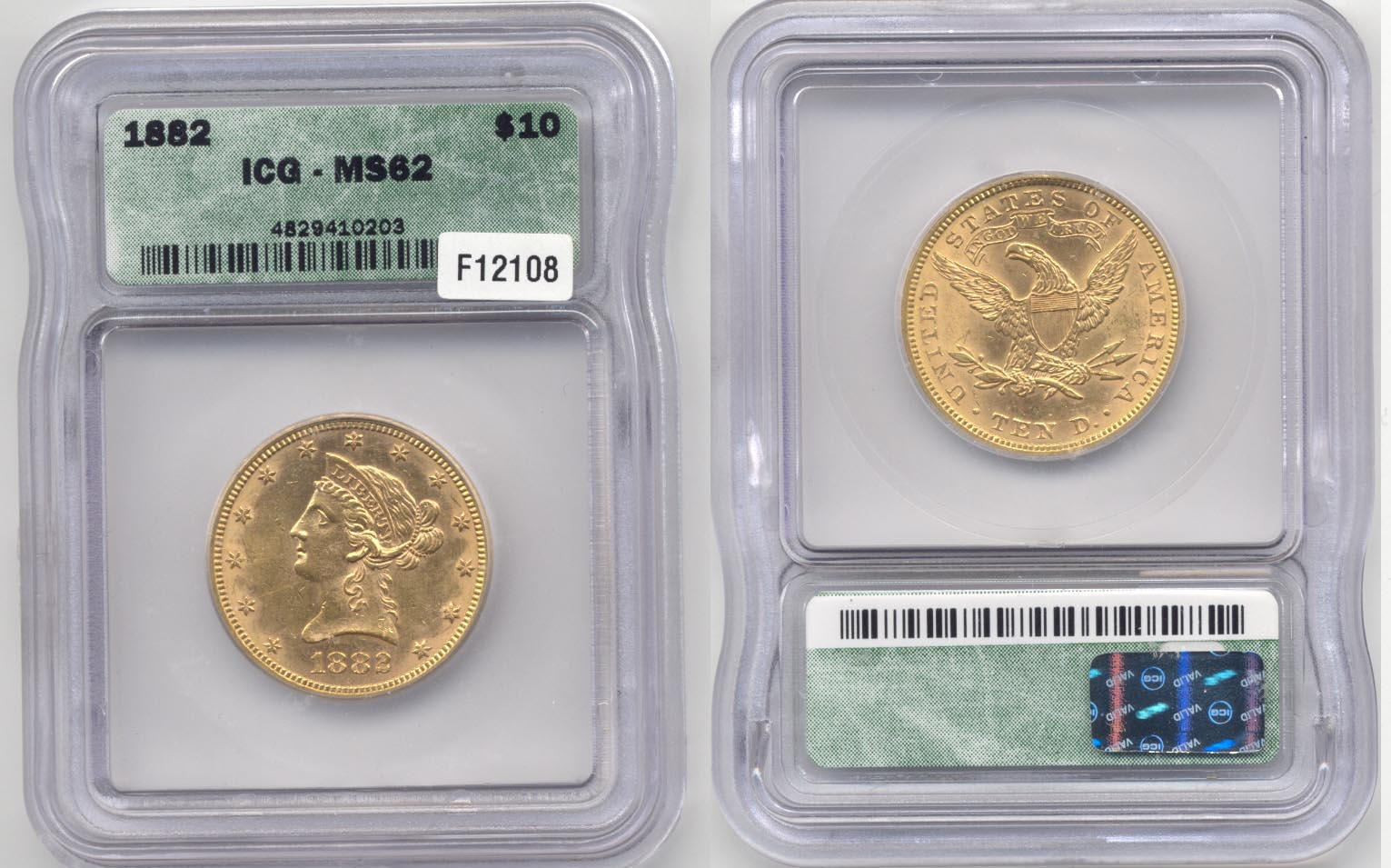 1882 Gold $10.00 Eagle ICG MS-62
