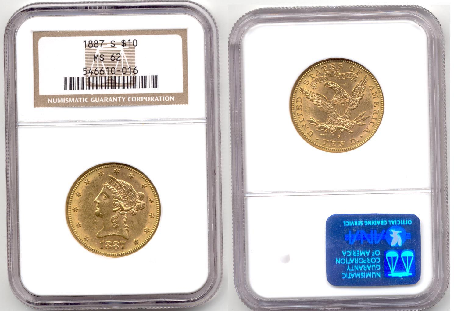 1887-S $10.00 Gold Eagle NGC MS-62