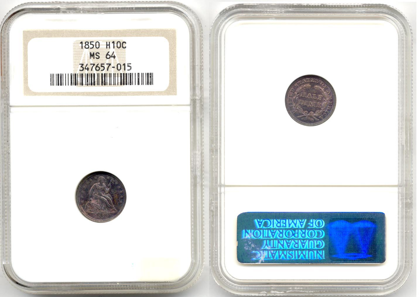 1850 Seated Liberty Half Dime NGC MS-64