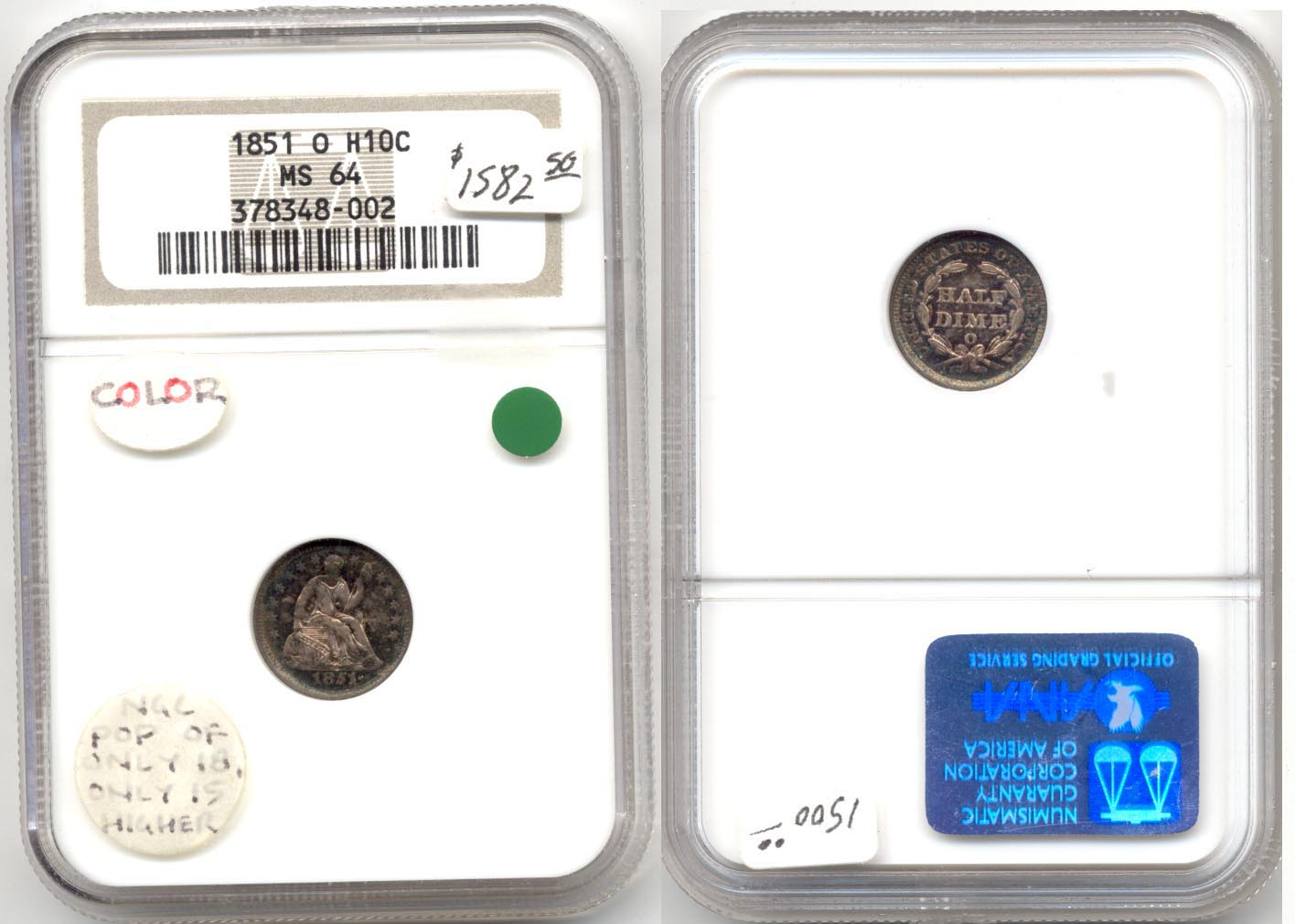 1851-O Seated Liberty Half Dime NGC MS-64