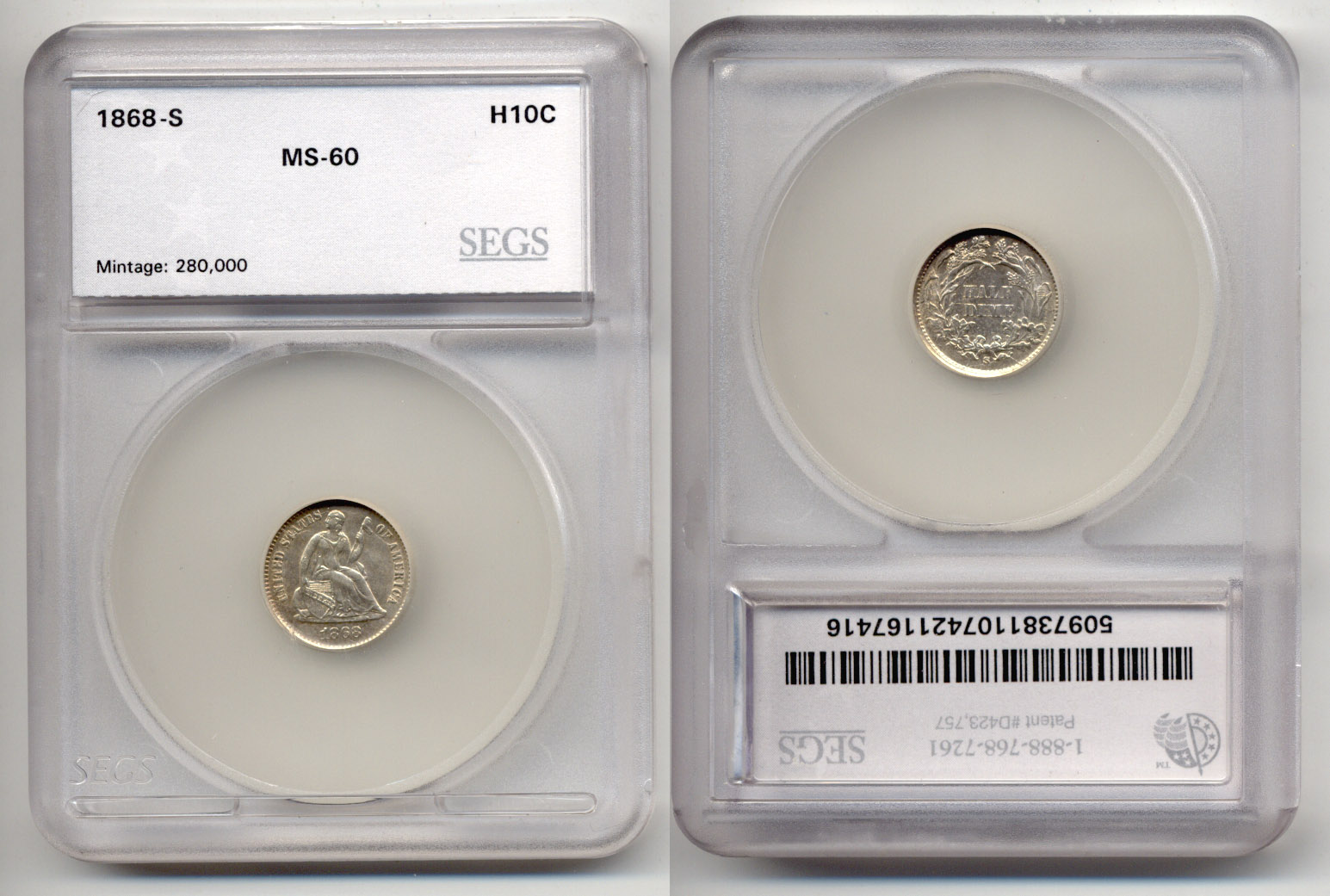 1868-S Seated Liberty Half Dime SEGS MS-60