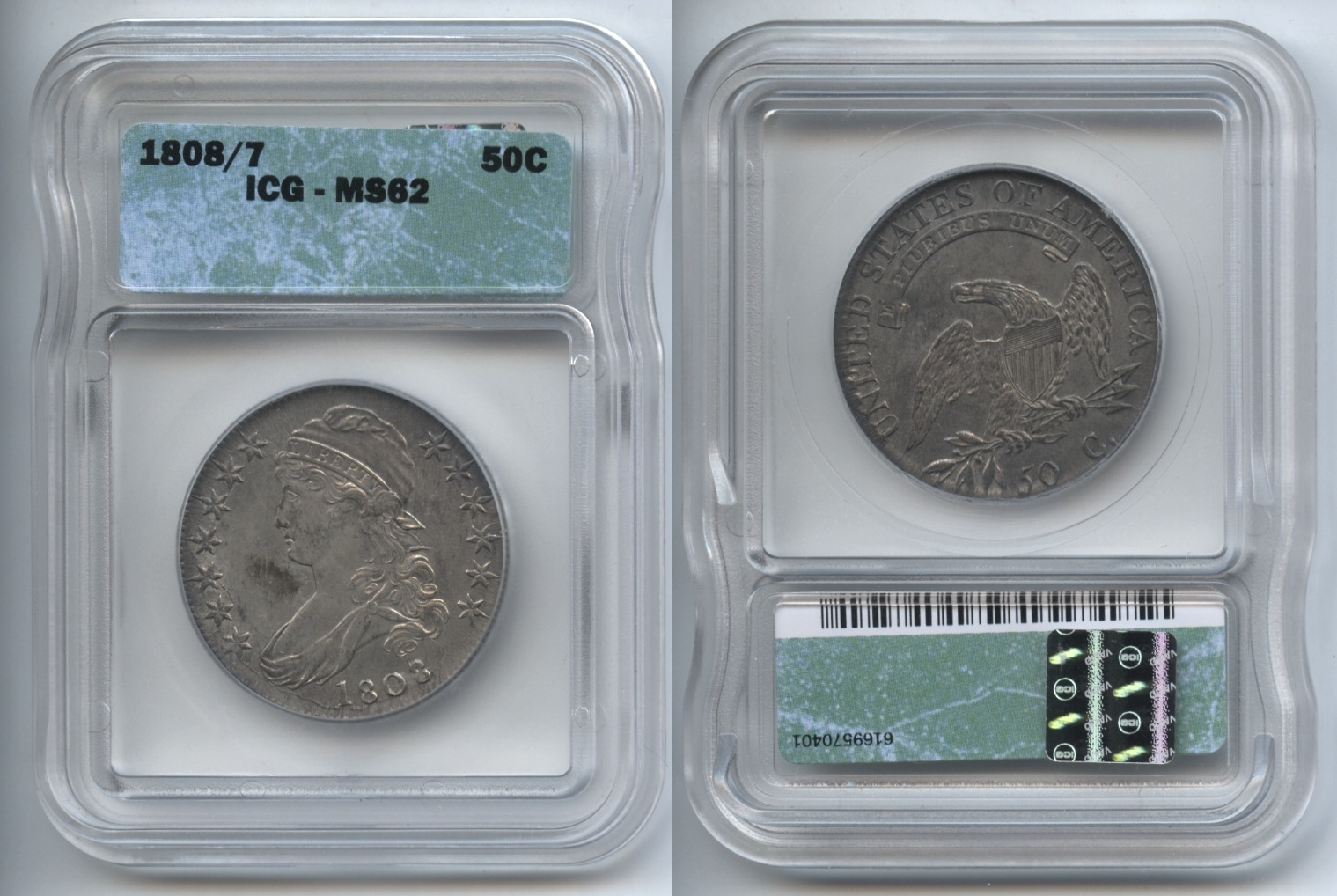 1808/7 Capped Bust Half Dollar ICG MS-62
